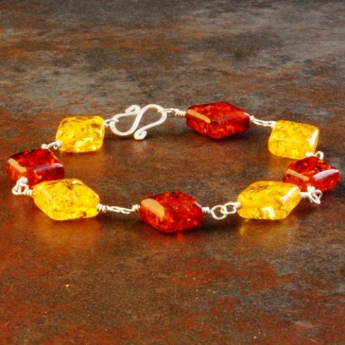 2 Tone Diamond Amber Bracelet 01 Full View
