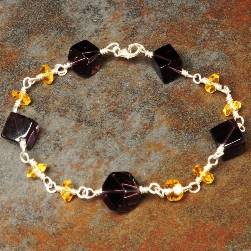 Amethyst and Citrine Bracelet 01 - Abundance Full View