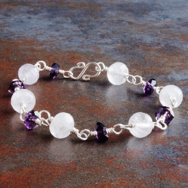 Faceted Double Amethyst Bracelet 02 Full View