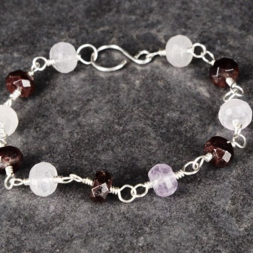 Faceted Amethyst and Garnet Bracelet 01