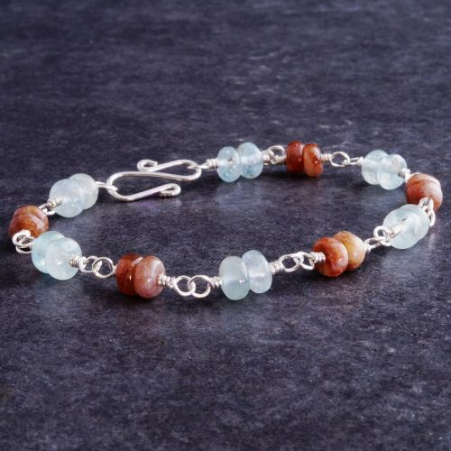 Aquamarine Sunstone Bracelet 01 Full View