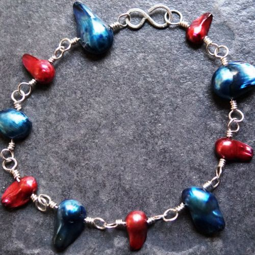 Bronze and Navy Blister Freshwater Pearl Bracelet Full View