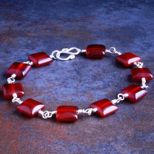 Square Carnelian Bracelet 01 Full View