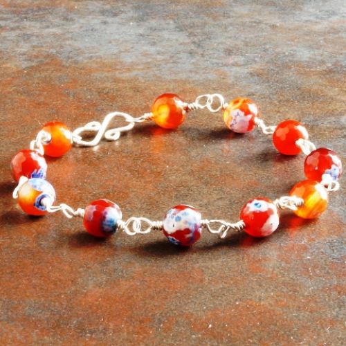 Red Blue Fire Agate Bracelet 01 Full View