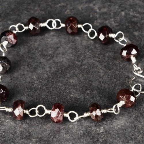 Faceted Garnet Bracelet 01 Full View