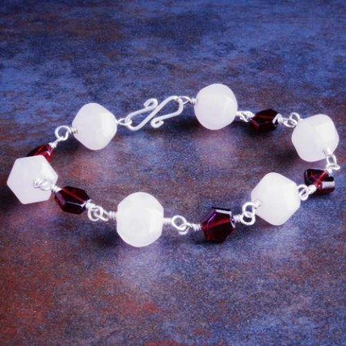 Garnet Rose Quartz Bracelet 01 Full View