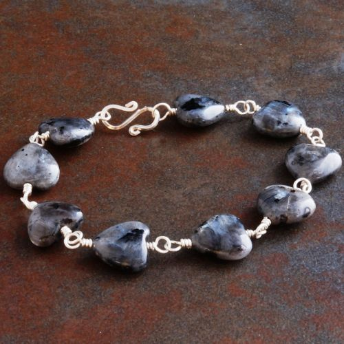 Larvikite Heart Bracelet Full View
