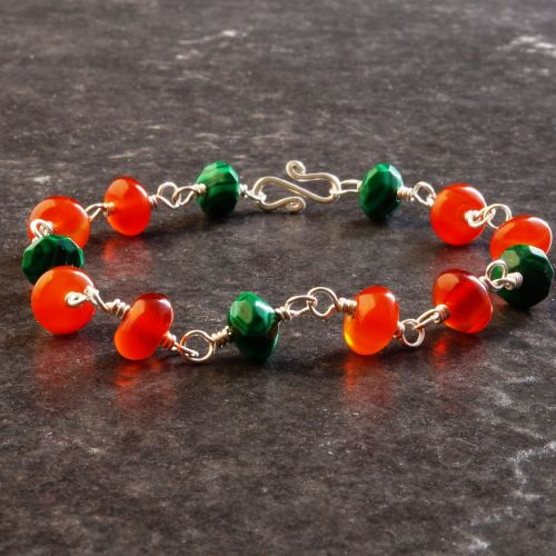 Carnelian Malachite Bracelet 02 Full View