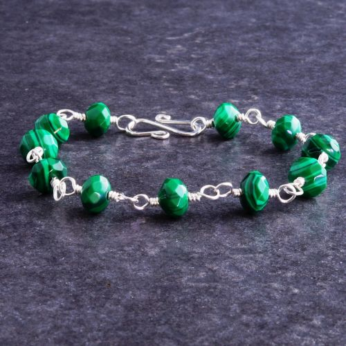 Faceted Malachite Bracelet 01 Full View