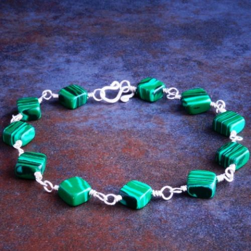 Malachite Diamond Bracelet 02 Full View