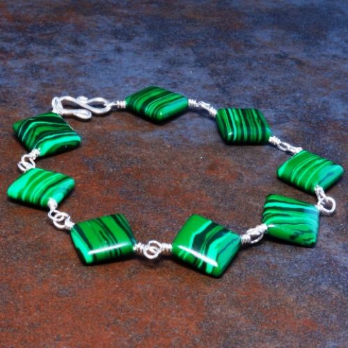 Diamond Malachite Bracelet 03 Full View