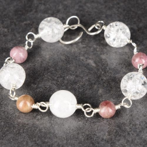Pink Tourmaline Quartz Bracelet 01 Full View