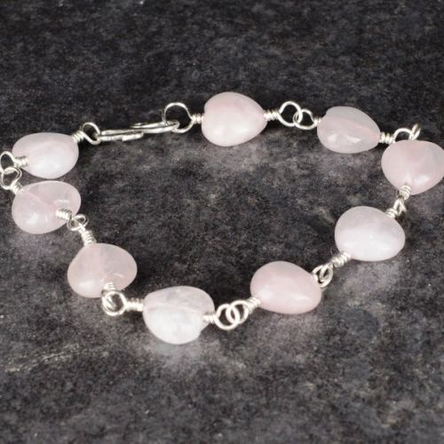 Rose Quartz Hearts Bracelet Full View