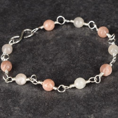 Rainbow Moonstone Sunstone Bracelet 01 Full View