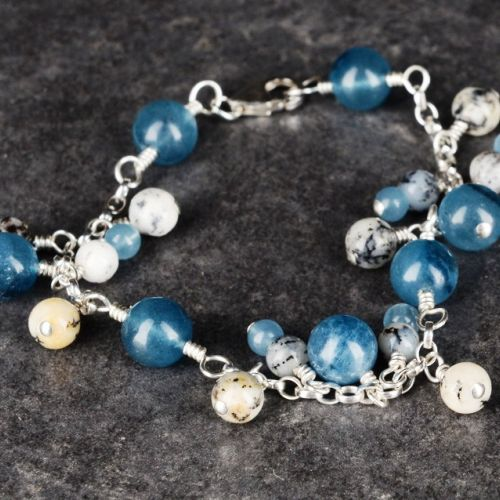 Blue Apatite and Merlinite Charm Bracelet 01 Full View