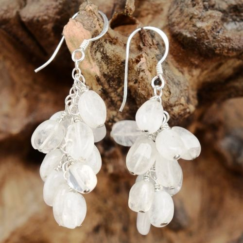 Rainbow Moonstone Cluster Drop Earrings Full View