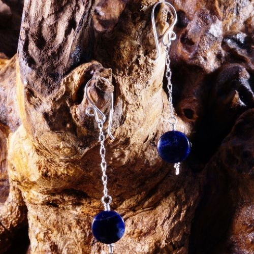 Chained Orange Sodalite Earrings 01 Full View