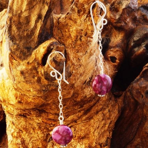 Chained Sugilite Earrings 01 Full View