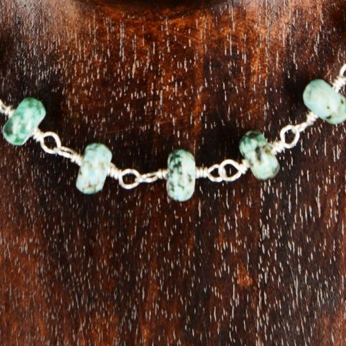 African Turquoise Choker Necklace 01 Detail
