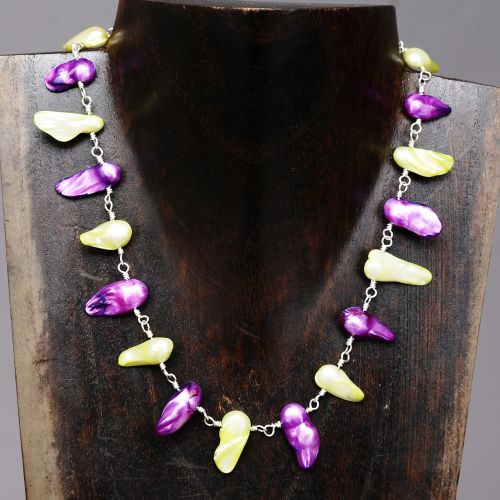Shocking Pink and Lime Blister Freshwater Pearls Choker Necklace Full View