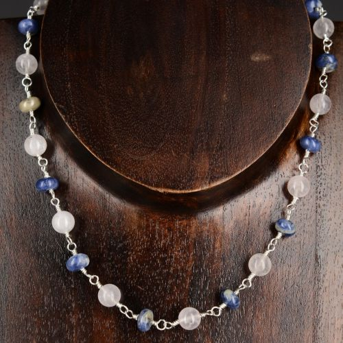Sodalite Rose Quartz Necklace 01 Full View