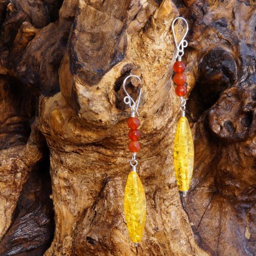 Long Amber Carnelian Earrings