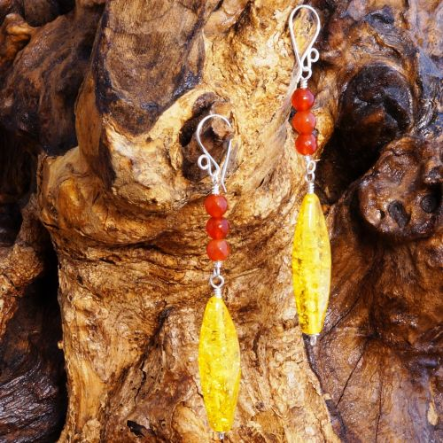 Long Amber Carnelian Earrings Full View