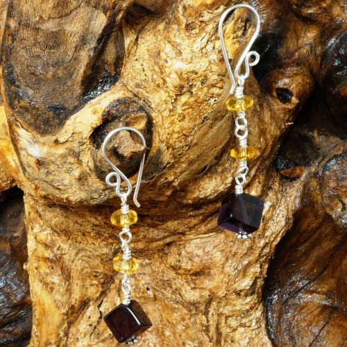 Amethyst and Citrine Dangle Earrings 01 - Abundance Full View