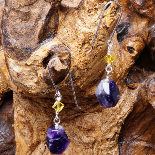 Amethyst Citrine dangle earrings Full View