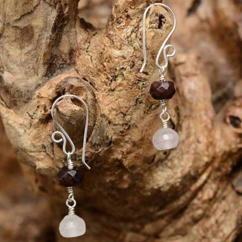 Amethyst and Garnet Dangle Earrings 01 Full View