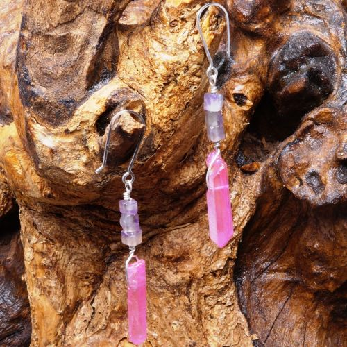 Amethyst Mystic Quartz Point Earrings 02 Full View
