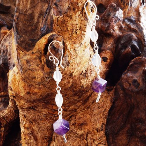 Moonstone Amethyst Dangle Earrings 02 Full View