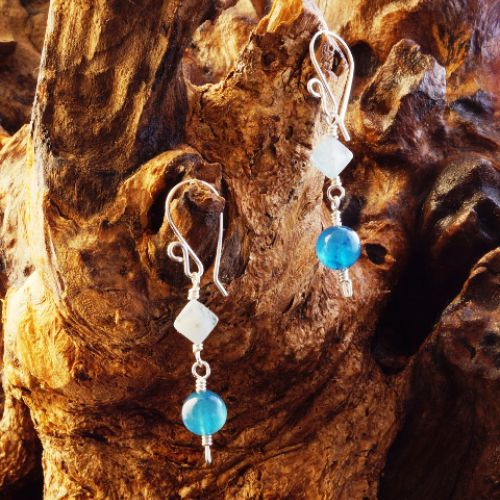 Blue Apatite Aquamarine Earrings 02