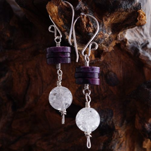 Charoite Quartz Dangle Earrings 01 Full View