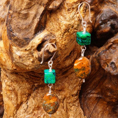 Chrysocolla Turquoise Earrings 01 Full View
