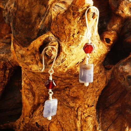 Garnet Iolite Dangle Earrings 02