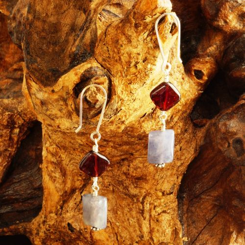 Garnet Iolite Dangle Earrings 03
