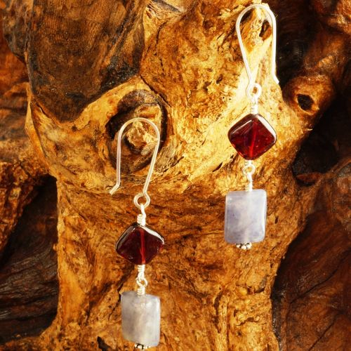 Garnet Iolite Dangle Earrings 03 Full View