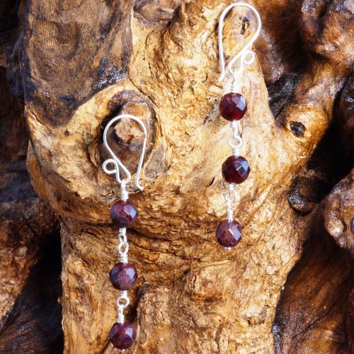 Garnet Dangle Earrings 01 Full View