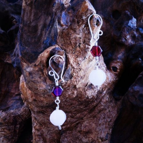 Garnet Rose Quartz Dangle Earrings 02