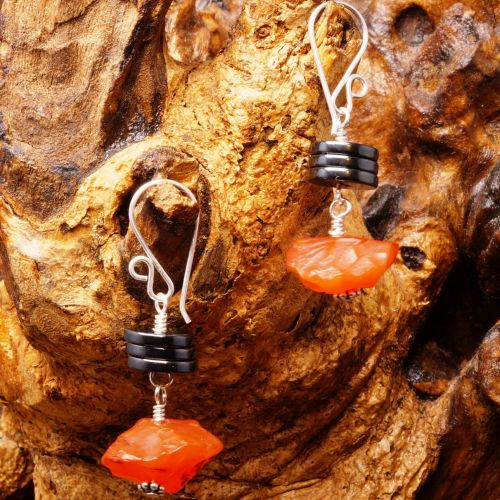 Hematite Carnelian Dangle Earrings 01 Fullview