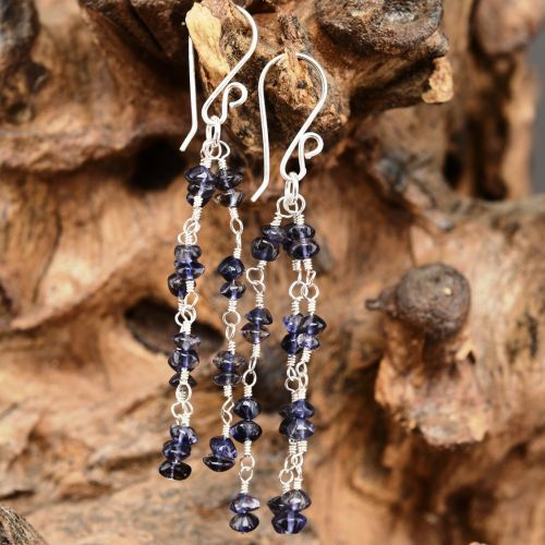 3 Strand Iolite Earrings Full View