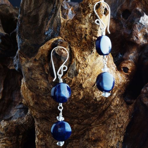 Double Orange Sodalite Quartz Earrings 01 Full View