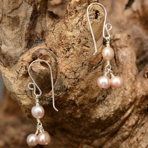 Cluster Freshwater Pearl Earrings 01 Full View