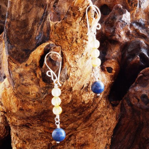 Rutilated Quartz Dumortierite Earrings 01 Full View