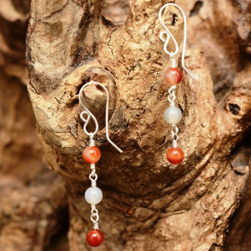 Sardonyx and Agate Dangle Earrings 01 Full View