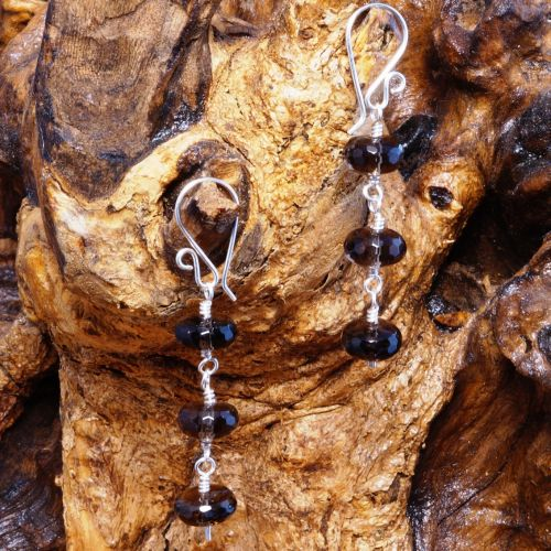 Smokey Quartz Dangle Earrings 01 Full View