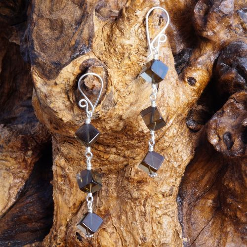 Smokey Quartz Cubed Dangle Earrings 02