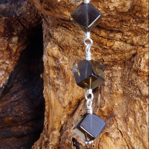 Smokey Quartz Cubed Dangle Earrings 02 Closeup