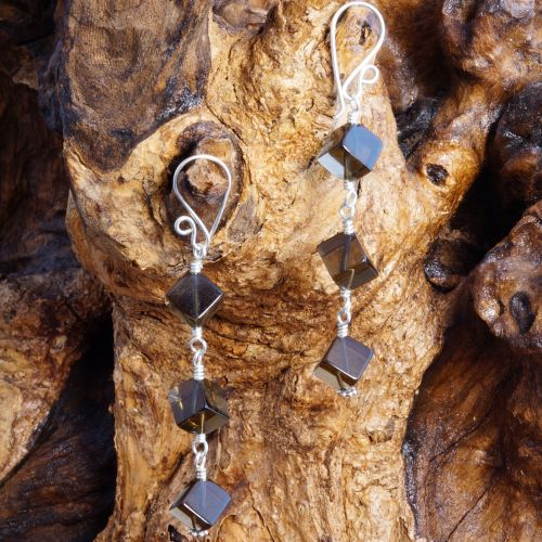 Smokey Quartz Cubed Dangle Earrings 02 Full View